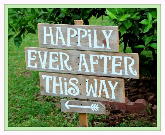 Rustic Wedding Signs Large Font Recycled Wood Hily Ever After This Way Arrow Sign
