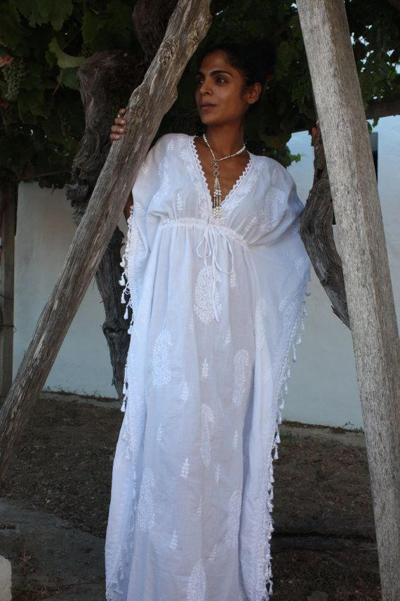 White Ibiza long kaftan with hand embroidery by AUROBELLE on Etsy