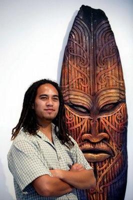 Maori Art- on old surfboard