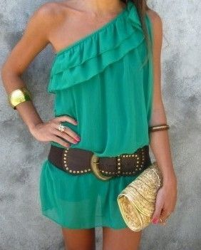 Teal one shoulder dressSummer Dresses, Fashion, Cowboy Boots, Summer Outfit, Style, Clothing, One Shoulder, The Dresses, Green Dresses