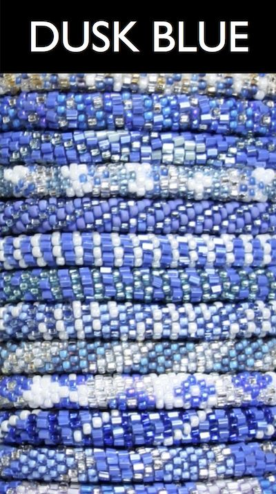 New Color Category: DUSK BLUE! A perfect color for fall. These simple yet stunning authentic Lily and Laura® bracelets are hand-crocheted with cotton and glass beads. They can stretch to roll on over any hand.