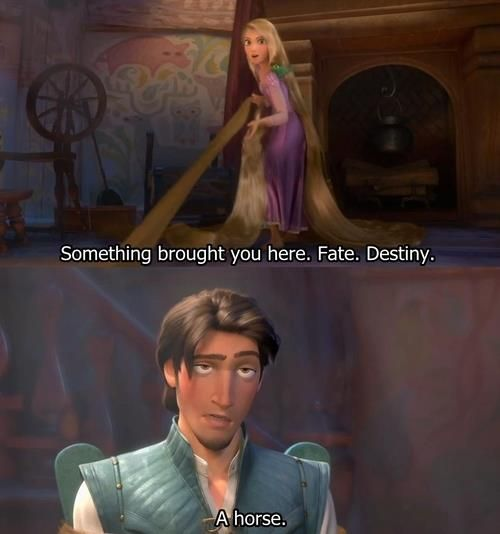 Something brought you here fate, destiny, a horse funny Tangled scene