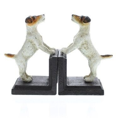 Whimsical Jack Russell Terrier dog bookends stand at attention and will delight all who enter a room. Created in limited production quantities, each bookend is handpainted and made from heavy-duty cas