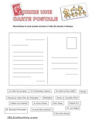 Écrire une carte postale fiche d'exercices - Fiches pédagogiques gratuites FLE
