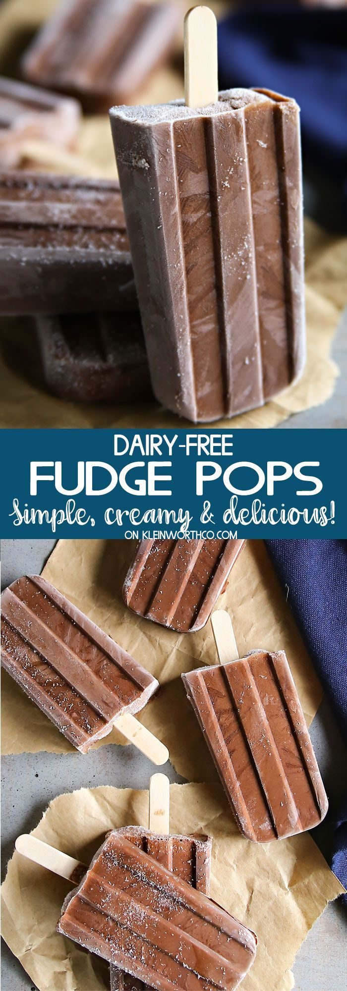 Dairy-Free Fudge Pops Recipe is the perfect summertime frozen treat. Made with coconut milk & no refined sugar, these are ultra creamy & SUPER DELICIOUS! via @KleinworthCo