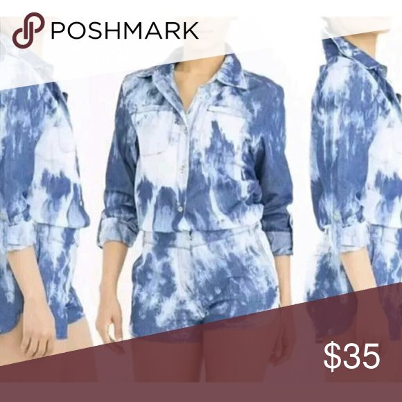 Denim Chambray One Piece Jumpsuit SIZE: Small Medium Large   COLOR: Blue   FABRIC: 100% Cotton   CARE: Machine wash   CONDITION: New with tags   We have other sizes available sm, med and large  SzSleeveBust Waist Shoulder/Length  S46cm92cm74cm 37cm/71cm  M47cm96cm78cm38cm/72cm  L48cm100cm82cm39cm/74cm Shorts