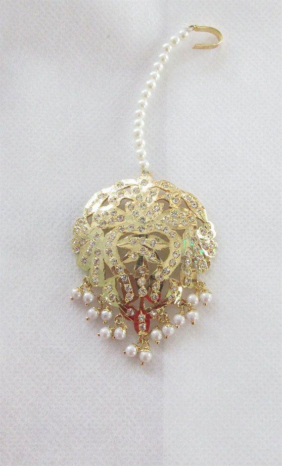 Gold Plated Jadau Heart Maang Tikka/ Indian by Beauteshoppe