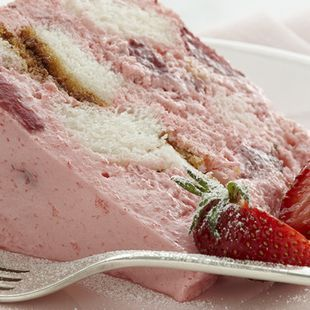 Angel Strawberry Bavarian: Fluffy strawberry cream envelops rich squares of Duncan Hines Angel Food Cake in this refrigerated dessert. Angel Strawberry Bavarian Cake is lovely and refreshing.