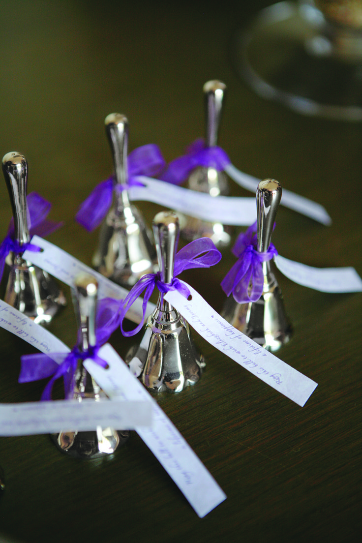 "Instead of having guests throw rice after the ceremony, the bride offered pouches of birdseed & small silver bells. ""My maternal grandmother collected bells,"" explains the bride, ""& this was a way for me to honor her memory."""