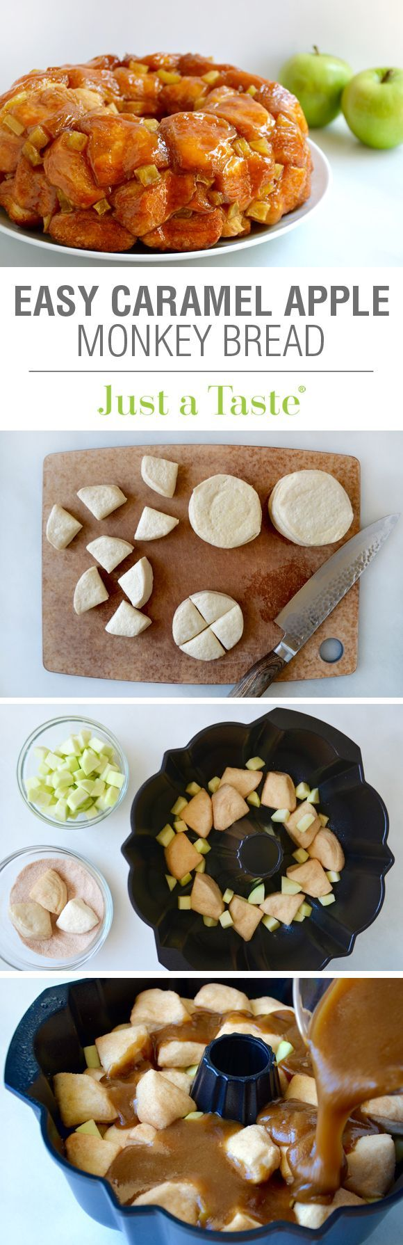 Easy Caramel Apple Monkey Bread #recipe via justataste.com