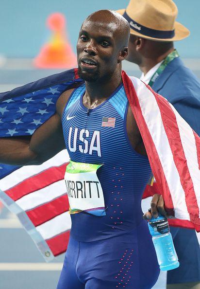 Lashawn Merritt of USA celebrates winning the bronze medal for the men's 400m on…