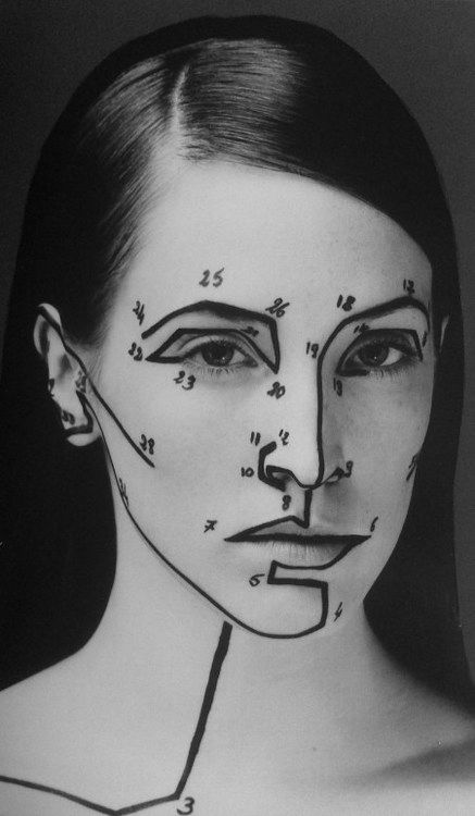 """After she did her eyes, Susie Chapstick created a new make up diagram for the rest of her face."""