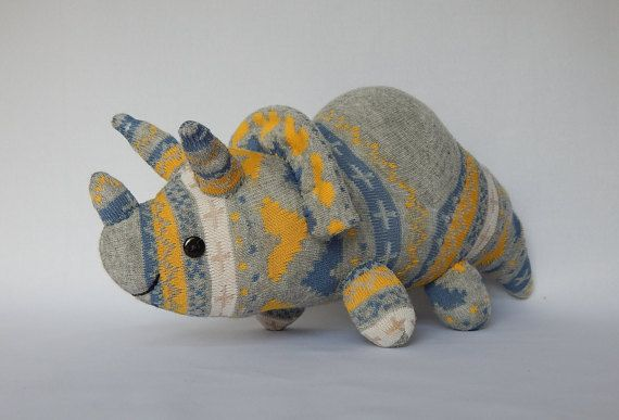 Triceratops Plush Toy Dinosaur plushie Dino Toy by SockSockWorld