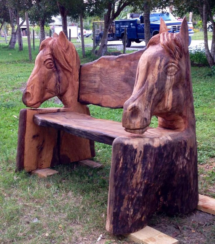 Horse bench chainsaw carvings pinterest benches and