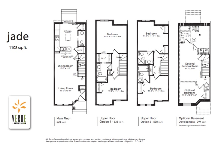 'Jade' floorplan model at Verde in Clearview. 1108 sq.ft.    - Optional lower level development adds 359 square feet  - 2 bedroom double master each with en-suite or one bedroom with walk-in closet and cheater en-suite.  - Large L-shaped kitchen with patio doors leading to the private back yard and peninsula open to dining and living room.