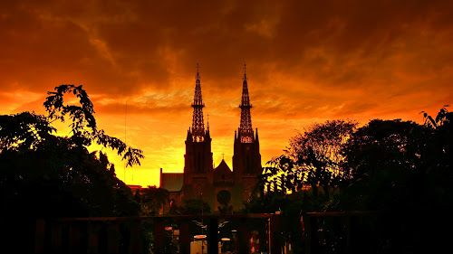 cathedral by Tonny Haryanto - Buildings & Architecture Public & Historical ( religion, two, dutch building, building, church, cathedral, jakarta, silhoutte, historical, place )