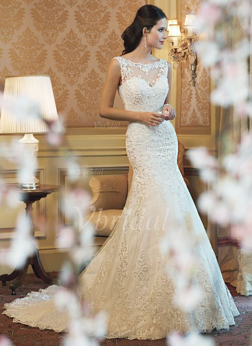 Wedding Dresses - $199.99 - Trumpet/Mermaid Scoop Neck Chapel Train Tulle Lace Wedding Dress (00205003135)