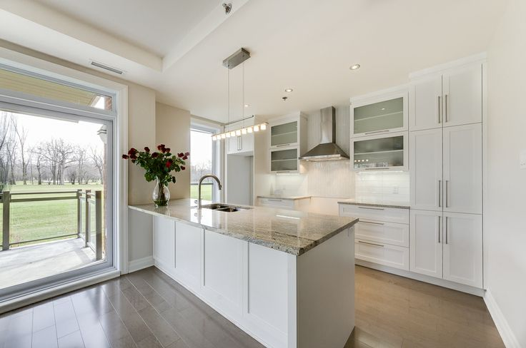 La cuisine branchée et dynamique est au centre de l'action et ont y retrouvent des armoires de polyester et un comptoir de granit.