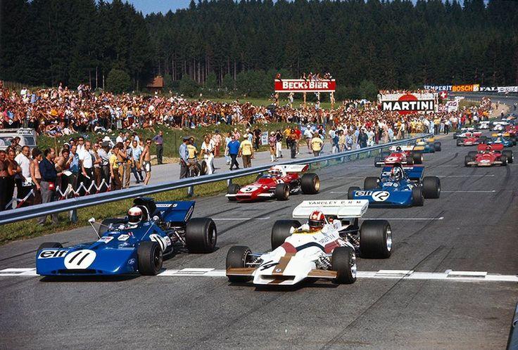 1971 Austrian Grand Prix Start by F1-N°. 11: Jackie Stewart (GBR) (Elf Team Tyrrell), Tyrrell 003 - Ford Cosworth DFV (RET) N°. 14: Jo Siffert (SUI) (Yardley-BRM), BRM P160 - BRM V12 (finished 1st)  N°. 5: Clay Regazzoni (SUI) (Scuderia Ferrari), Ferrari 312B2 - Ferrari Flat-12 (RET) N°. 12: François Cevert (FRA) (Elf Team Tyrrell), Tyrrell 002 - Ford V8 (RET)