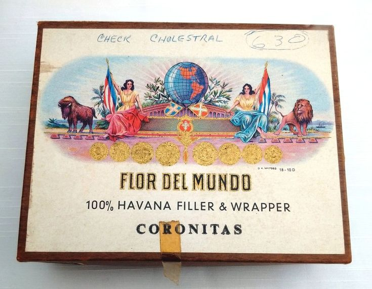 vintage FLOR DEL MUNDO 100% havana filler & wrapper 50 CIGAR BOX coronitas