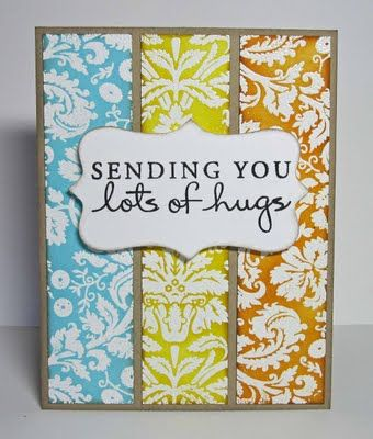 Card inspiration. I'm not a huge fan of the colors, but I like the idea of 3 subtle/matching patterns behind a plain marquis. Adaptable to just about any message!