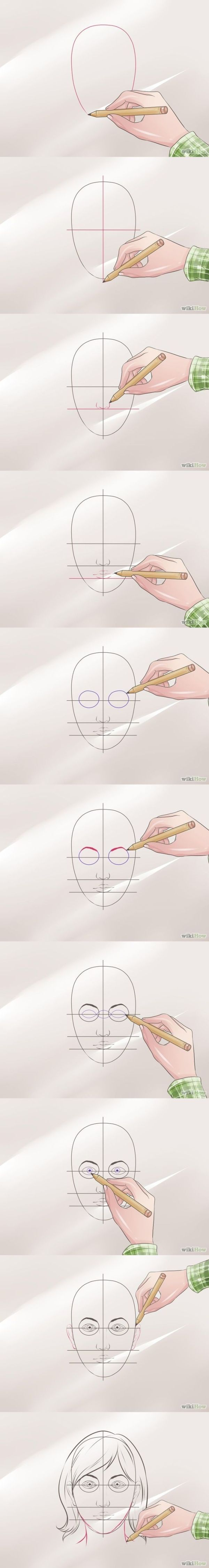 Comment dessiner un visage Étape par étape tutoriel Wikihow #draw #FACE #drawing #how par olga