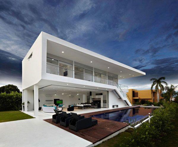 Architecture, Modern White Home Design Spotlight Pendant Lamp Assorted Sofa White Concrete Stairway Infinity Pool: 30 Finest Minimalist Home...
