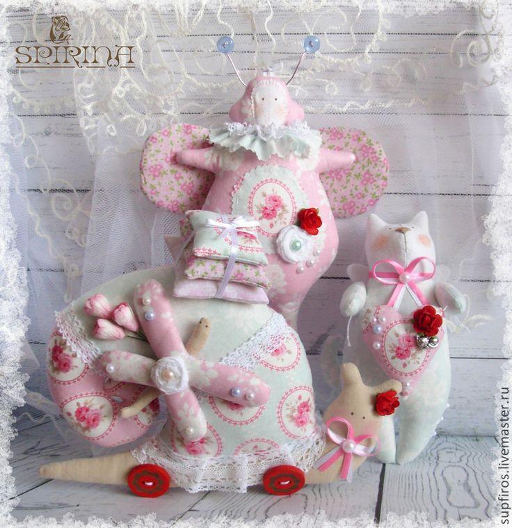 Купить Набор Зефирка - бледно-розовый, голубой, пастельные цвета, улитка Тильда, жук тильду