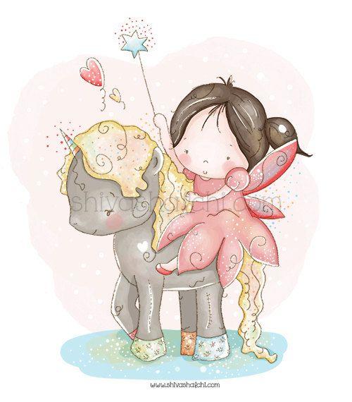 Ilustración de los niños - guardería - niña pequeña en un unicornio - puede todos tus sueños se hacen realidad