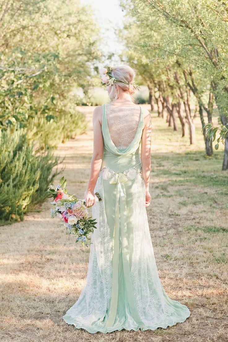 Finaally! A mint colore #weddingdress! Claire Pettibone 'Venus' wedding dress  http://www.clairepettibone.com/bridal/?cp=gowns/venus {Project Wedding shoot by Katelin Gallagher  onelove Photography} | Floral: Bear Flag Farm
