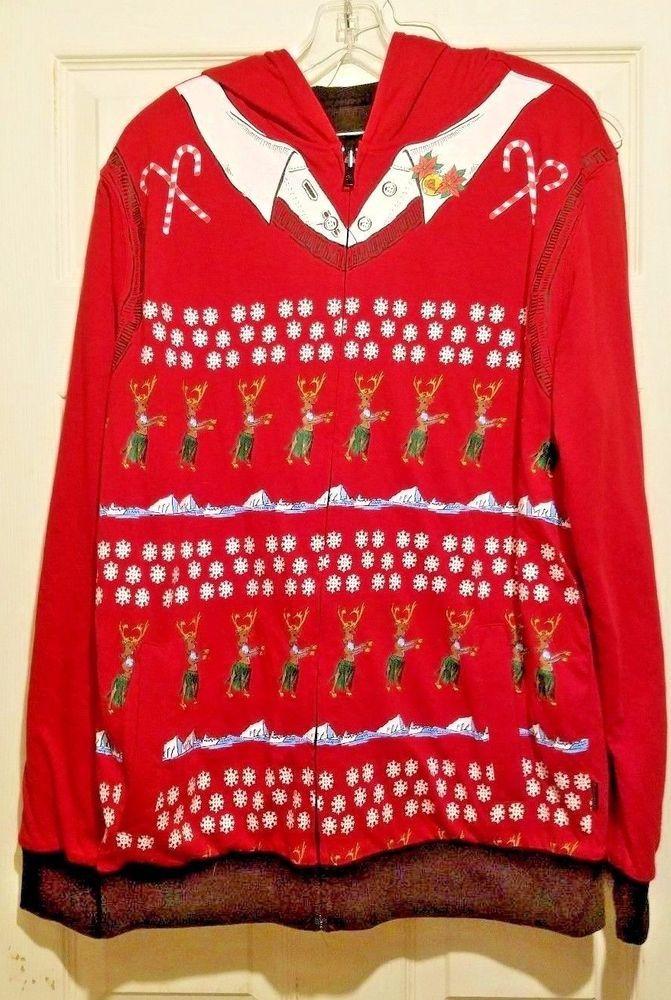 Quik Silver Hoodie Christmas Reversible Size L Hula Reindeer Black Red  #Quiksilver #Hoodie
