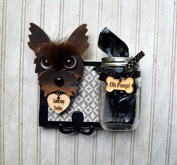 Dog Leash Holder With Bag Jar Yorkie Handmade