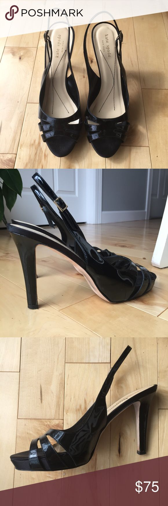 Kate Spade New York sling back heels Kate Spade New York black patent sling back heels. Size 9. Heel height: 4 1/4 inches. Shoe length: approx. 9 3/4 inches. Signs of wear on soles. Insole lining curls up a bit at the toes. See last detail pic. Offers welcome, no trades. 20% discount on bundles of 2 or more items. kate spade Shoes Heels