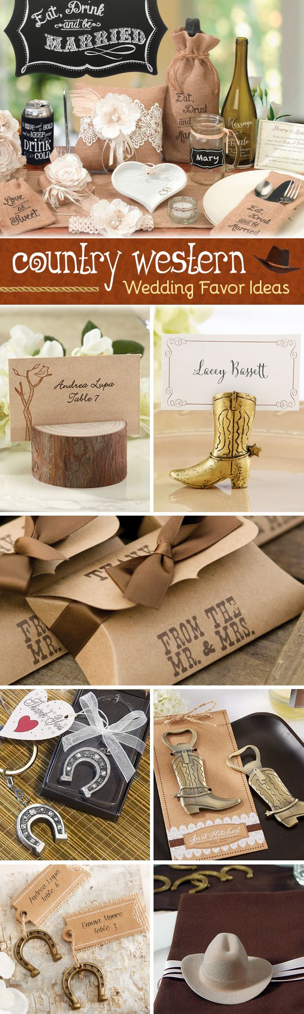 Offers Western Wedding Favors And Rustic Country Theme Party Favors Such As  Horseshoes, Cow Print, Cowboy Hats, Burlap Bags And More!