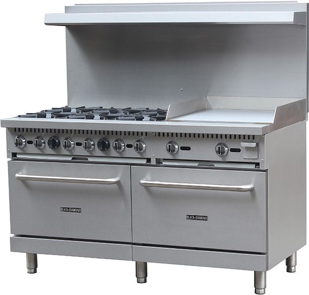 Black Diamond BDGR-6024G/NG 60in Gas Range/Griddle Combo - 6 Burners, 24in Griddle NG: Restaurant Equipment and Supplies Online : Restaurant Depot