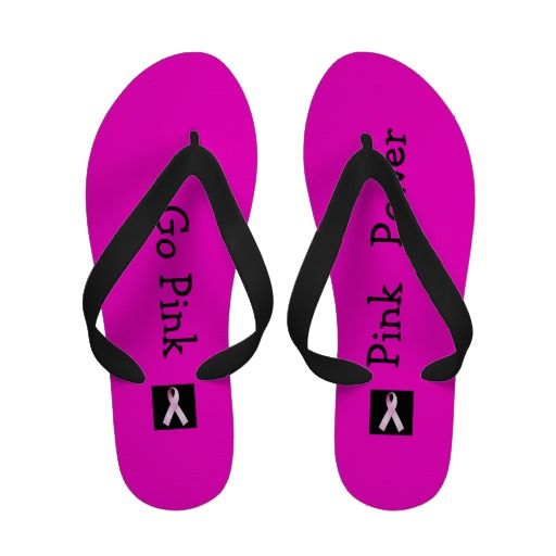 Pink Power Breast Cancer Awareness flip flops