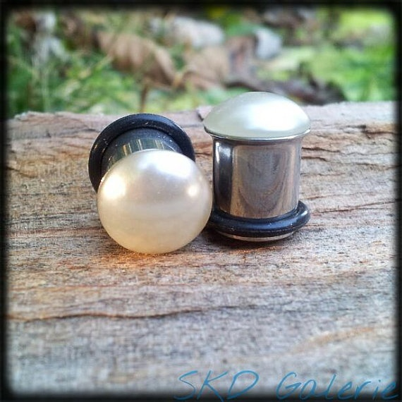 Vintage Glass Pearl Plugs by SKDGalerie on Etsy, $28.00