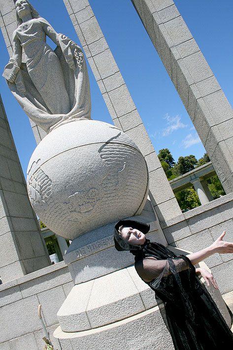 Franschoek: Celeste Coetzee's potato-art protest at the Huguenot monument.