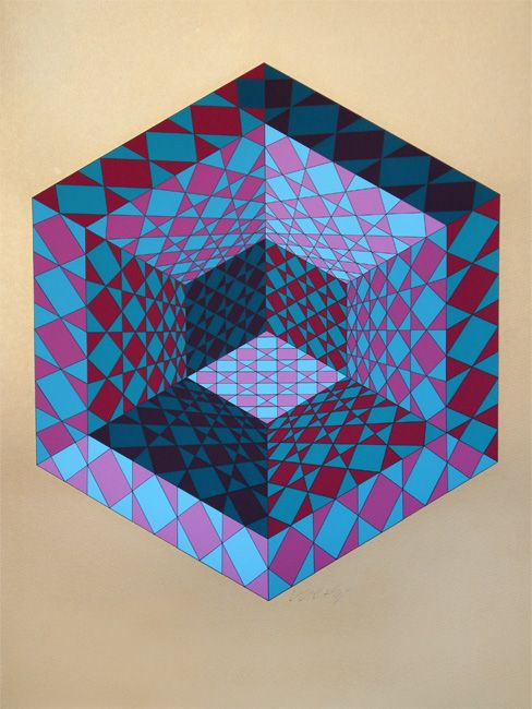 Victor Vasarely: There may be no correct answer when trying to understand the geometry of this image. You can neither be certain of what's pointing toward or away. You cannot tell the distance between any of the sized shapes. The split in lighting indicates that we have a small cube, overlapping a mid-size hexagon, overlapping a large cube. The lighting on the inner cube raises more questions. My head hurts.