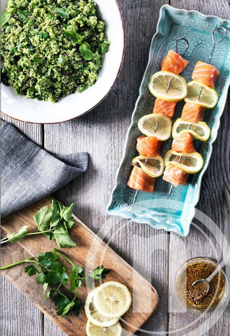 Laksekebab på spyd med broccoli-tabbouleh