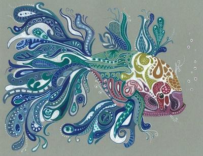 LWick ACEO *PRINT* beautiful doodle zentangle inspired FISH 2