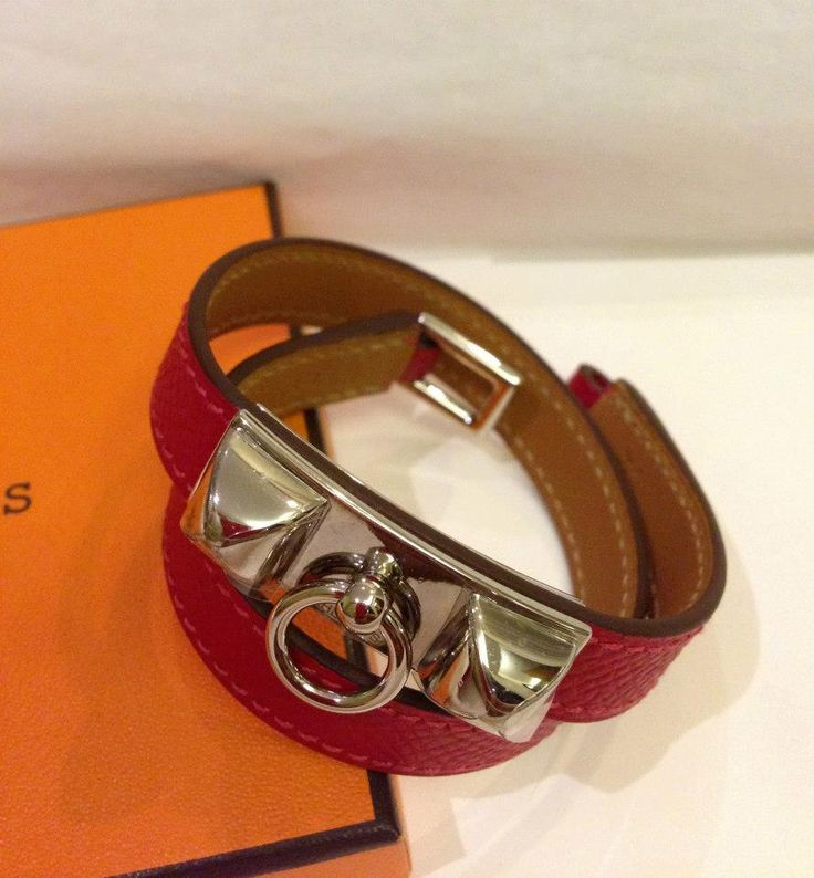 (BNIB) Hermès Rivale Double Tour Rouge Cassaque Epsom Phw sz XS #P