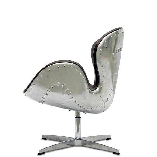 Винтажное кресло Swan Авиатор из натуральной кожи и авиационного алюминия