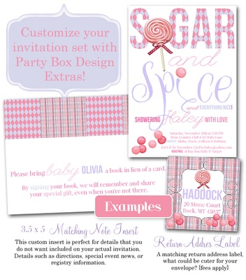 coordinating sugar and spice items, note inserts and cute return addy labels!