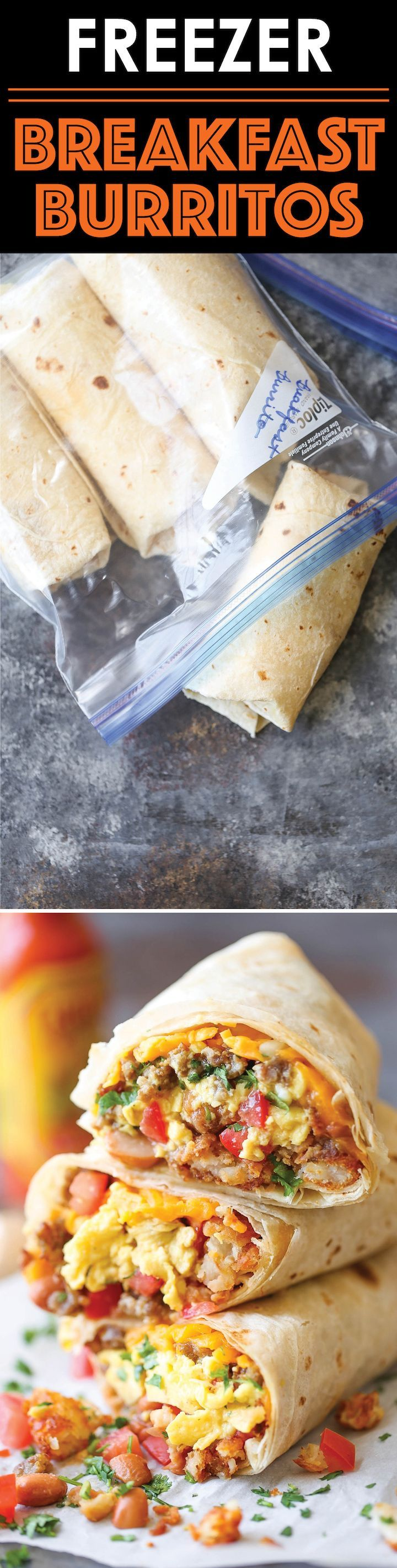 Freezer Breakfast Burritos - Meal prep over the weekend for the best burritos during the week. Loaded with tater tots, eggs, beans and cheese, of course!! http://eatdojo.com/healthy-breakfast-tips-easy-fat-burning/ http://eatdojo.com/healthy-breakfast-tips-easy-fat-burning/