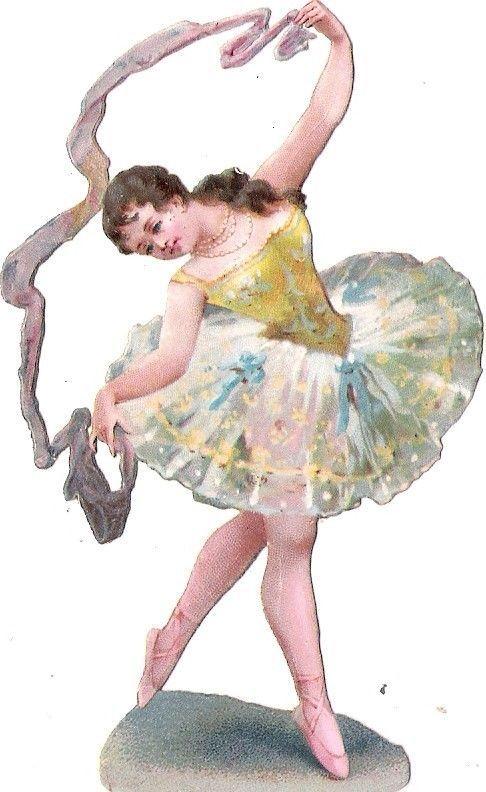 Oblaten Glanzbild scrap die cut chromo Dame ballet  Ballett Tänzerin ballerina