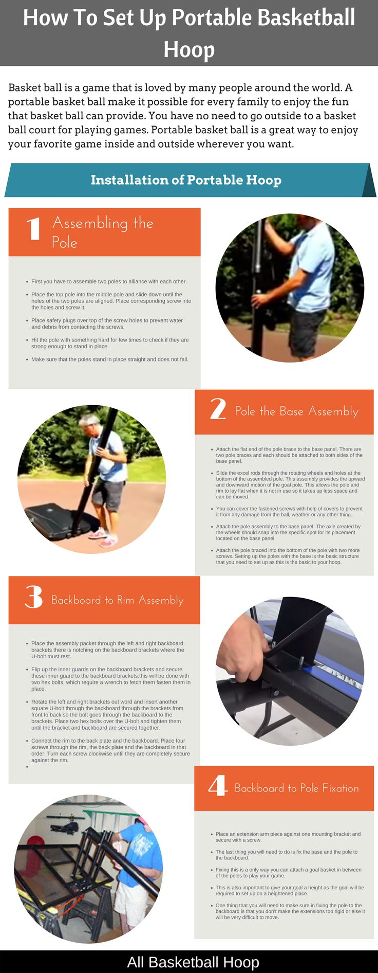 A Brief infographics on how to set up portable basketball hoops in a few simple steps in 5-10 Mins