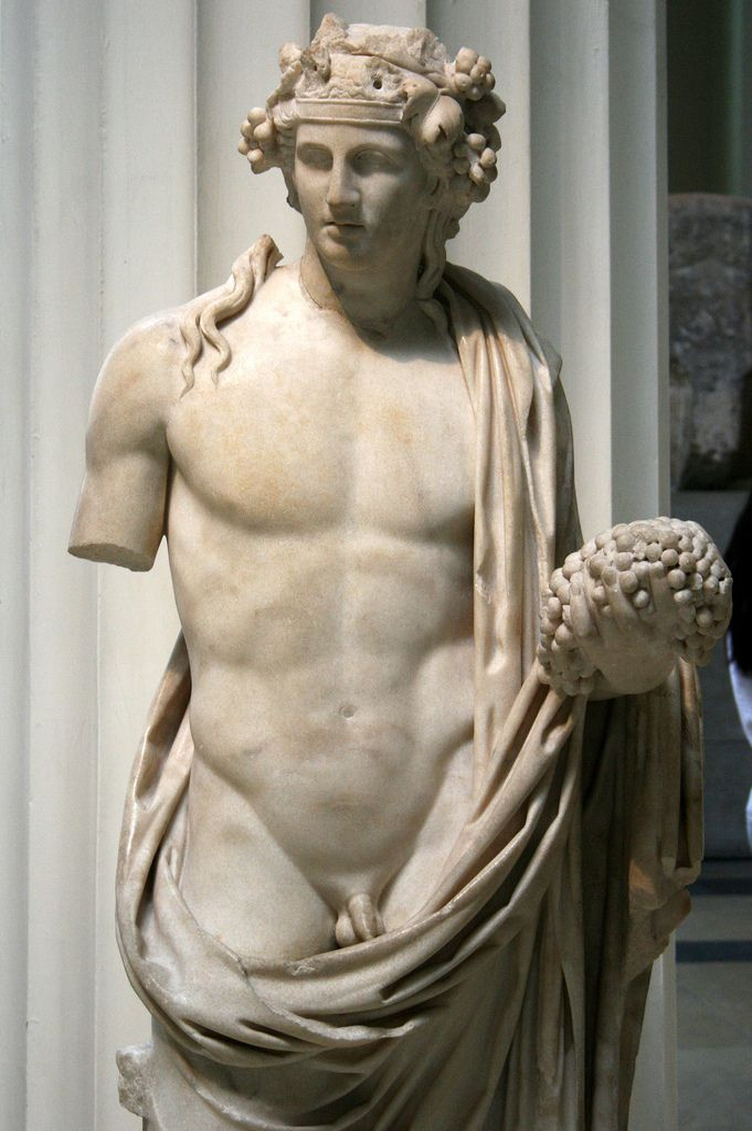 Young Greek God Dionysus. God of the grape harvest, wine making and wine, of ritual madness, fertility, theatre and religious ecstasy in ancient Greek religion and myth. The British Museum.London