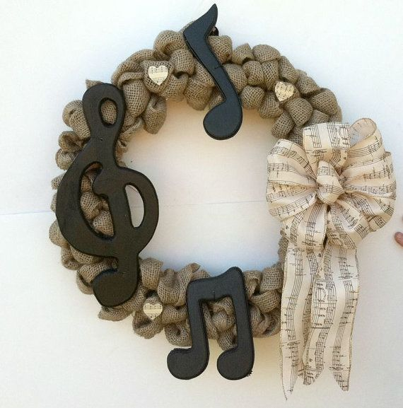 Beautiful Natural Burlap Wreath with Music Notes  18 inch wreath  Lovely bow is off-white with gold glitter edges and gold glitter music