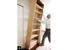 how to build a built-in bookcase: Step-by-step wookworking plans....ideas for the office/craft room:)